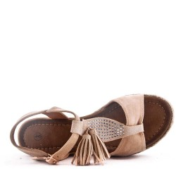 Sandale compensée en simili daim