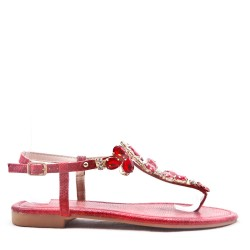 Sandal in mixed materials for women