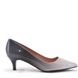Faux leather heeled pump