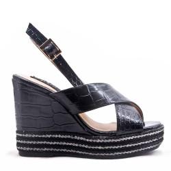 Women's faux leather wedge sandal