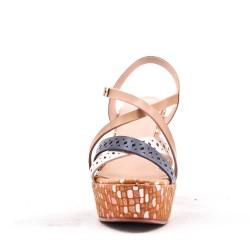 Sandalia de cuña de mujer efecto piel