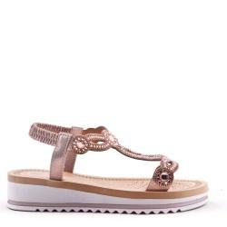 Mixed material wedge sandal