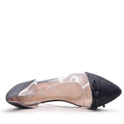 Mixed material ballerina for women