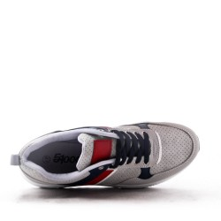 Mix-material sneakers with laces
