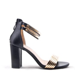 Mixed material heeled sandal for women