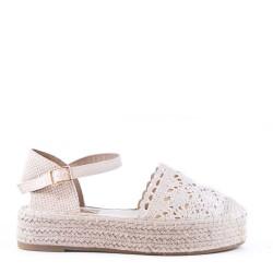 Sandale compensée en textile