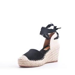 Sandale à talon en mix matières
