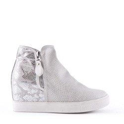 Women's faux leather lace-up wedge sneaker
