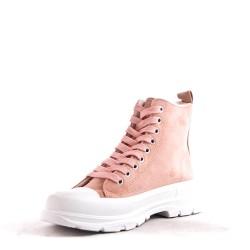 Faux suede lace-up tennis shoe