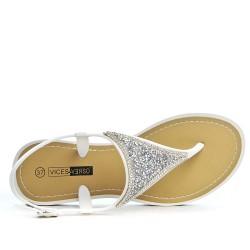 Sandale tong blanc à strass