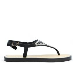 Sandale tong noir à strass
