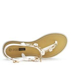 Sandale tong blanc à bijoux