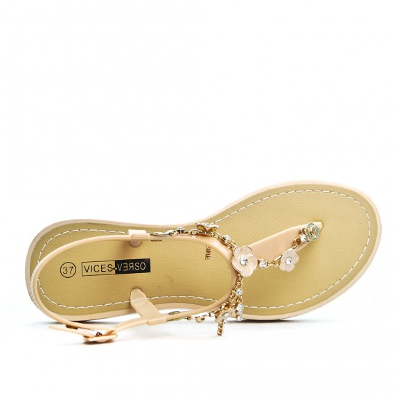 Sandale tong beige à bijoux