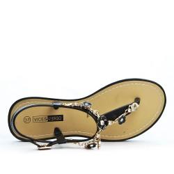 Sandale tong noir à bijoux