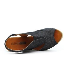 Sandale noire à talon compensé en corde