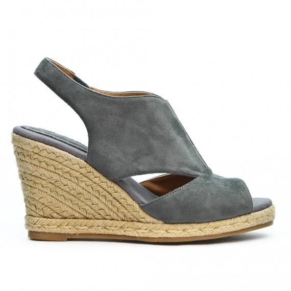 Sandale grise à talon compensé en corde