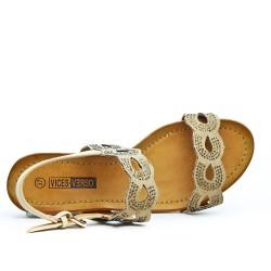 Sandale beige bi-matière petit compensé