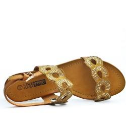 Sandale camel bi-matière petit compensé