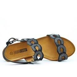 Sandale noire bi-matière petit compensé