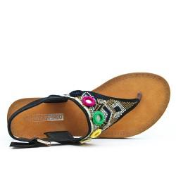 Sandale tong noire brodé