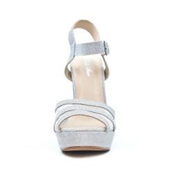 Sandale argent à talon haut carré