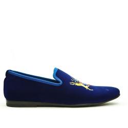 Mocassin en velours bleu