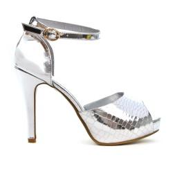 Sandale de soirée argent métallisé