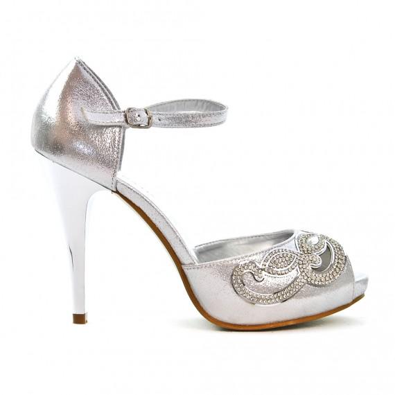 Sandale de soirée argent à strass
