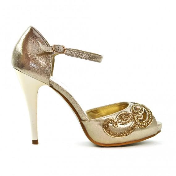Sandale de soirée dorée à strass