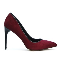 Escarpin pointu en simili daim bordeaux