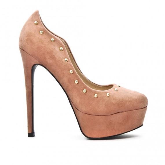 chaussures de sport ca984 44b40 Escarpin en simili daim rose avec plateforme