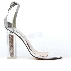 Sandale argent à talon transparent