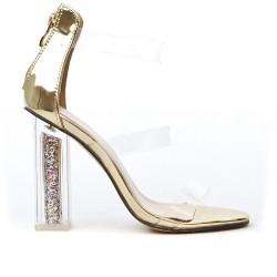 Sandale dorée à talon transparent
