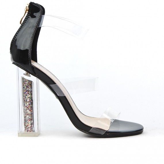 Sandale noir à talon transparent