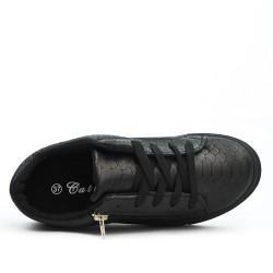Basket noire imprimée croco à lacet