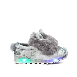 Basket lumineuse fille gris à motif lapin