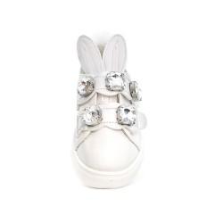 Tennis fille lapin blanc à strass