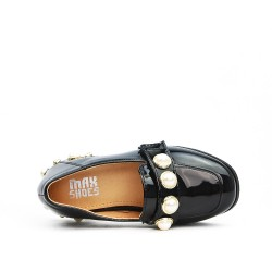 Mocassin fille noir orné de perles