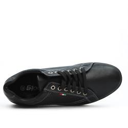 Basket en simili cuir noir à lacet