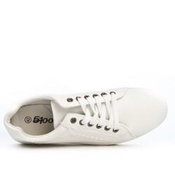 Basket en simili cuir blanc à lacet