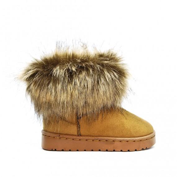 recherche d'officiel haute couture fabrication habile Botte fille fourrée camel