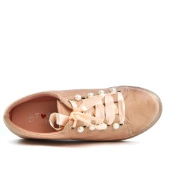 Basket rose à perles avec lacet ruban