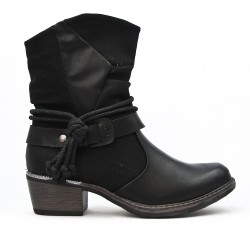 Bottine en simili cuir noire