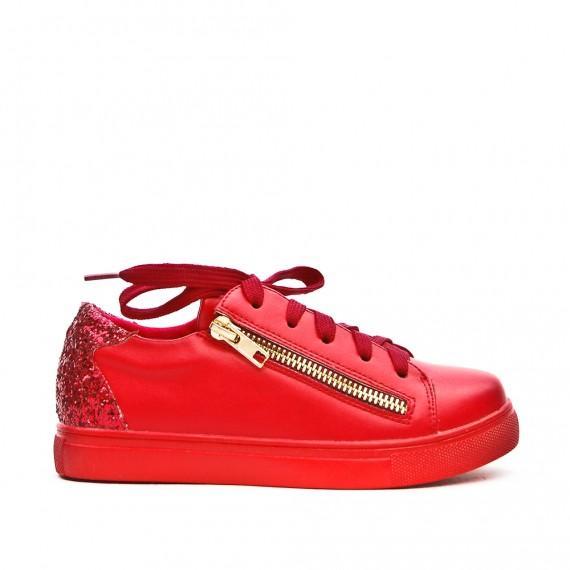 Basket fille rouge à lacet détail pailleté
