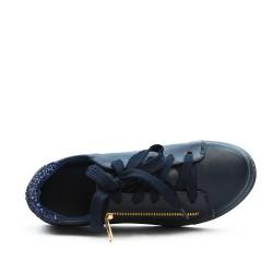 Basket fille bleu à lacet détail pailleté