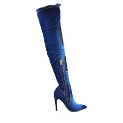 Botte en jean bleu foncé à talon