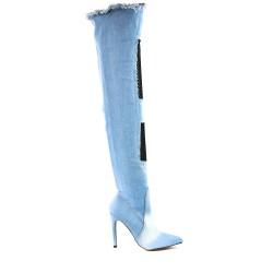 Botte en jean bleu clair à talon