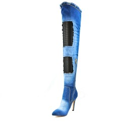 Botte en jean bleu à talon
