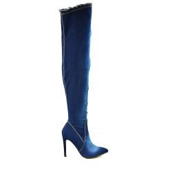 Botte en jean bleu foncé effet déchiré à talon
