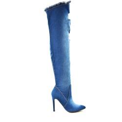 Botte en jean bleu effet déchiré à talon